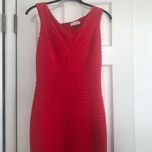 Calvin Klein Red Mid-Length Dress (with tags)